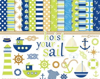 Nautical clipart and digital papers pack in lime green and navy Hoist Your Sail DK019 Instant Download