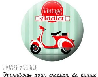 2 cabochons craft addict ref 661 - 20 mm glass - vintage Italian vespa scooter