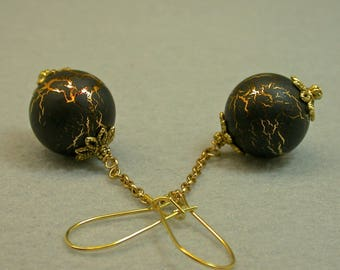 Vintage Black Gold Japanese Lucite Dangle Drop Bead Earrings, Gold Chain,Gold Kidney Ear Wires - GIFT WRAPPED EARRINGS
