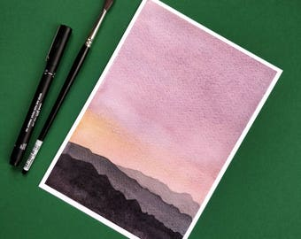 Pink minimal mountains watercolor - giclee print