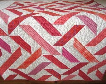 Homemade Quilt | Modern Quilt | Handmade Quilt | Patchwork Quilt | Lap Quilt | Quilted Throw | Home Decor | Pink Coral Quilt Keepsake Quilts