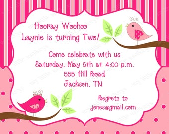 10 Little Birdie Birthday Invitations with Envelopes.  Free Return Address Labels