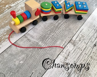 Toddle Baby Wooden Stacking train, Block Toy, Fun Vehicle Toy, Block board, Game toy, wooden educational toy. CHANSOMPS