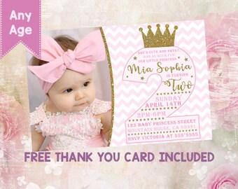 Princess 2nd birthday invitation Princess second invitation Princess invitation Princess invite Princess party Princess photo invitation