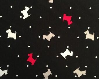Black, White and Red Scottie Dog Fabric