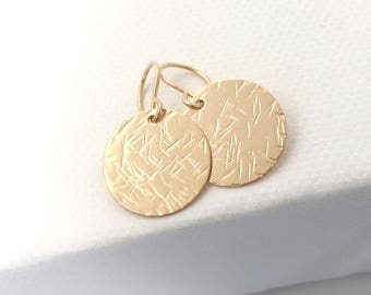 Large Gold Disc earrings - textured gold fill drop earrings
