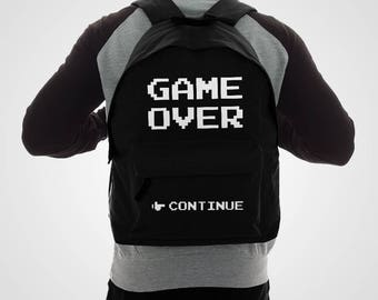 Game Over Backpack Video Game RuckSack Retro Gaming Bag Pixel Continue Merch Videogame Accessory Unisex Gamer School Work Bags Black 8bit