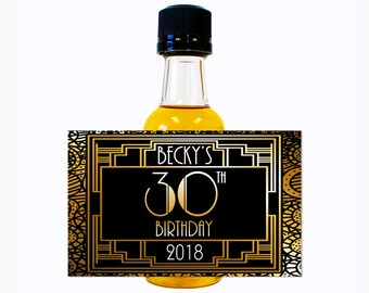 Custom Liquor Mini Bottle Labels Adult Birthday Favors - Personalize with Custom Text - Womens 30 Birthday Party Roaring 20s Celebration