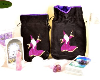 Wizard - All Natural Cotton Velvet and Silk Tarot, Oracle, or Crystal bag