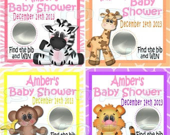 Baby girl Scratch off cards Jungle Baby Shower Game Scratch tags Party Scratch off game Favor Invitations Safari Scratch off card 12 printed