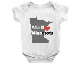 Made in Minnesota Onesie, Made in Minnesota Bodysuit, Minnesota Baby Onesie, MN Onesie, Baby Shower Gift, New parents gift, Newborn Outfit