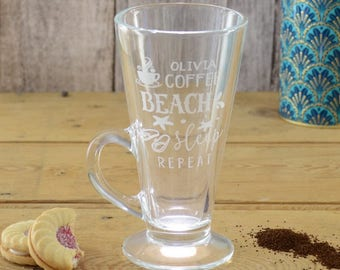 Coffee Beach Sleep Repeat Personalised Latte Glass Mug