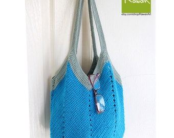 Crochet rope bag, Blue crochet market bag, crochet beach bag, Boho shoulder bag, Handmade summer bag, tote bag, Boho bag
