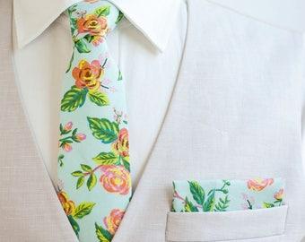 Necktie, Neckties, Mens Necktie, Neck Tie, Floral Neckties, Groomsmen Necktie, Ties, Wedding, Mint, Rifle Paper Co - Jardin De Paris Mint