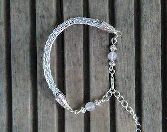 "Rose quartz, viking knit bracelet, bracelet wire wrap bracelet ""Tenderness"", wedding bracelet"