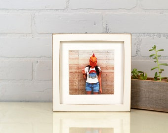 "7x7"" Square Picture Frame in Deep Flat Style with Vintage White Finish - IN STOCK Same Day Shipping - 7x7 Photo Frame White"