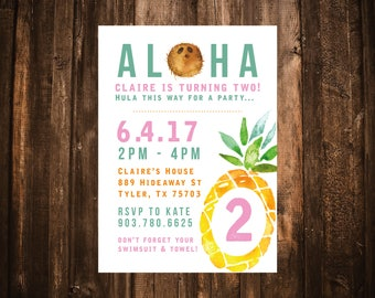 Aloha Pineapple Birthday Invitation; Printable or set of 10