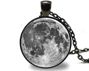 Full Moon  Pendant, Full Moon Necklace, Full Moon Jewelry, Full Moon Charm Black (PD0196)