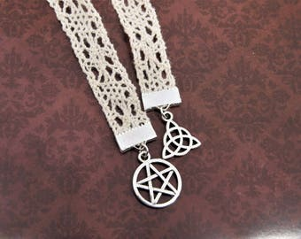 Lace bookmark pentagram triquetra (celtic knot trinity knot wicca wiccan pagan bookmarks goth gothic supernatural pentacle off-white creme)