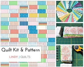 """Quilt Top Kit and Quilt Pattern - Pre Cut Fabric for 42"""" x 48"""" Quilt Top - Beginner Quilt"""