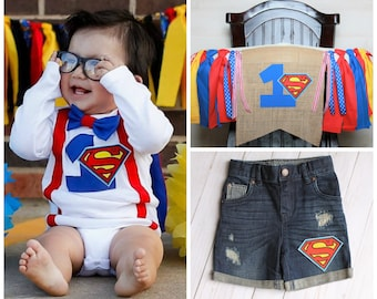 3 Piece Party Set! Superman Bodysuit, Superman Highchair Banner and Denim, Superman First Birthday Boy