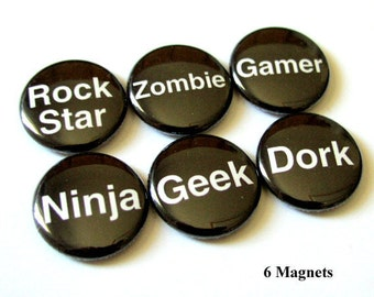 Refrigerator Magnets Set Rock Star Zombie Gamer Dork Words 1 inch humor party favor geek stocking stuffer funny shower gifts flair geekery