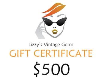 Digital Lizzy's Vintage Gems Gift Certificate 500.00 / Shop Gift Certificate / Buy Gift Certificate / Prepaid Gift Certificate