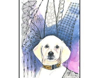 Watercolor White Labrador Greeting Card with Zentangles