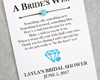 Something Blue - A Bride's Wish - Wish Bracelet Bridal Shower Favor Custom Made for You