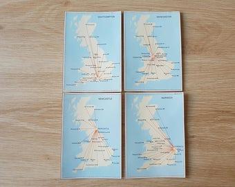 4 x Handmade Vintage Travel Journal Cards