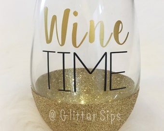 Wine Time Stemless Glitter Wine Glass // Stemless Wine Glass // Glitter Glass // Mother's Day Gift // Birthday Gift