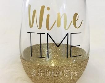Wine Time Stemless Glitter Wine Glass // Stemless Wine Glass // Glitter Glass // Mother's Day Gift // Birthday Gift