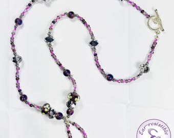 Necklace Purple, Pink, Silver, Glass Flower Beads with Signature Loop Holding Heart