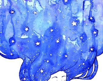 A5 print Winter Starry Night