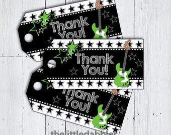 Rock Star Favor Thank You Tags -- Green Black Star Guitar Rock and Roll Birthday Gig Party Like a Rock Star Tags -- Printable PDF