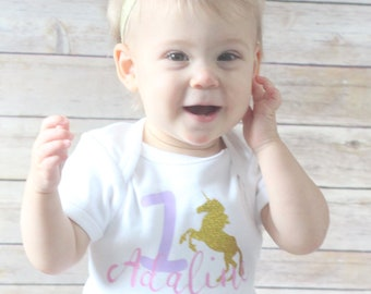 Unicorn Birthday/ First Birthday/ Custom Birthday Shirt/ Unicorn Party/ Unicorn Birthday Shirt/  Name Birthday Shirt/ Girl Birthday Shirt