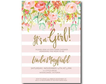 It's a Girl Baby Shower Invitation | Spring Flowers Glitter invite | Invitation |  BabyShower | Faux Glitter  Printable 0501