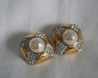 Vintage Givenchy Rhinestone Clip Earrings