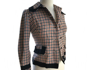 Vintage 70s brown black gingham pattern jacket/ earthy plaid coat/ Scottish style