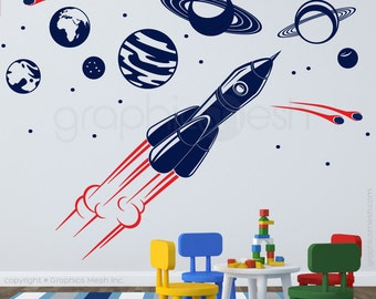 Wall decals SOLAR SYSTEM and SPACESHIP Interior art decor for nursery or boys bedroom by GraphicsMesh (small)
