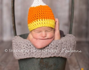 Newborn candy corn crochet hat