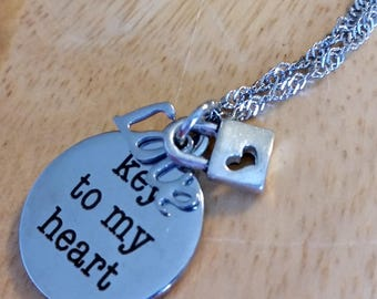 Key to my heart - Necklace for her - stainless steel necklace - gift for her - gift for wife - gift for girlfriend - gift for daughter - mom