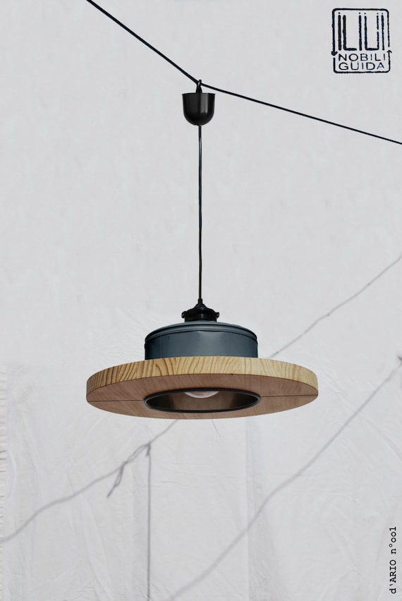 Hanging / Ceiling lamp / Pendant light,  matte charcoal color.... ECO - friendly: recyled from big coffe can !  Office / studio lamp