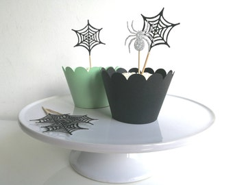 Halloween Spider and Cobweb Party Cupcake Toppers Black and silver Glitter x 12