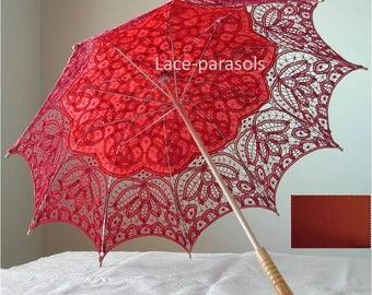 Burnt orange Battenburg Lace Parasol