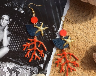Coral and starfish earrings / unique one of a kind earrings with starfish and coral charms / beach tropical coastal holiday summer earrings