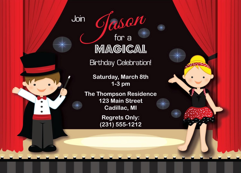 Magic Show Invitation Kids Birthday Invitation Party