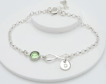 Personalised Infinity Bracelet, birthstone crystal, initial, gift for her, bridesmaids gift