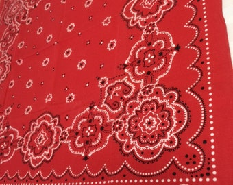 1940's Elephant Trunk Down red black bandana 21.5x19.5 Fast Color polka dot border flowers #103