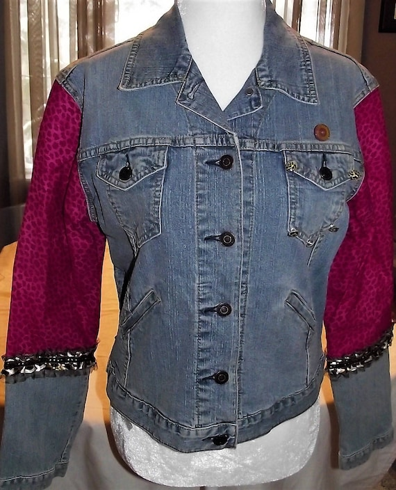 Refurbished Denim Womens Jacket, Size sm